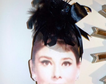 A Bird On The Hat is Worth.......Black Satin Blackbird Tulle and Glitter Head Band......Macabre Drama Hat