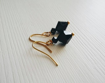Jet Black . Gold . Earrings