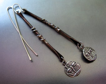 Dragonfly Drops Earrings, Sterling Silver & Copper Handcrafted Dangle Earrings
