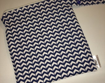 Blue Chevrons - 12x12 Sweet Bobbins Wet Bag - SEAM SEALED - Snap Strap - Boutique Quality