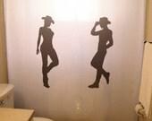 Cowgirl and Cowboy Shower Curtain Kids Shared Bathroom Decor South Western theme bath hat boots male female boy girl southwestern waterproof