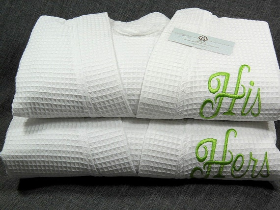 his hers robes couples monogrammed waffle weave robe