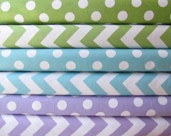 Lavender, Aqua, and Green Medium Dots and Medium Chevrons Fabric Half Yard Fabric Bundle - Riley Blake Designs - 3 Yards Total