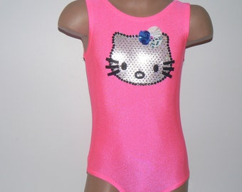 Little Dancer Skater or Gymnast Celebration Leotard with Kitty Applique Size 2T - Girls 12