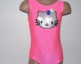 Little Dancer Skater or Gymnast Celebration Leotard with Kitty Applique. Toddlers Girls Leotard. Size 2T - Girls 12