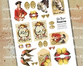 Digital Love Potion Labels, Tags - Marie Antoinette Equestrian Horse - INSTANT DOWNLOAD Printable Art Collage Sheet Paper Crafts CS65M