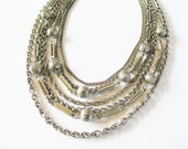 Chunky silver necklace: Stunning, chunky five string super glamorous silver tone round link chain mail style statement necklace