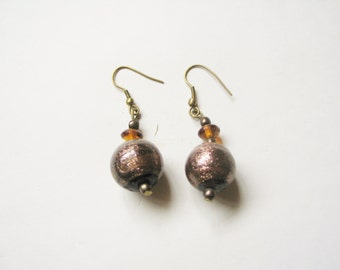 REDUCED Elegant bohemian fall colours marbled and glittery beaded shoulder duster earrings