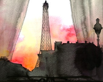 Here's Looking at You Paris, print from original watercolor and pen illustration by Jessica Durrant