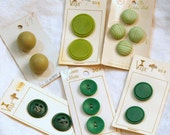 Vintage Buttons, Destash Lot of Green Buttons on Cards, 15 Buttons