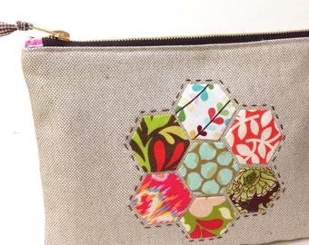 Appliqued Hexies on Linen Zippy Bag Purse