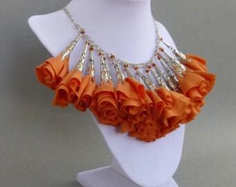 Tangerine Orange Fabric Flower Statement Necklace // Silver // Swarovski Crystals