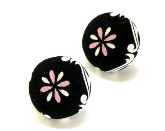 Fabric Button Earrings - Black, pink and white flowers - Nickel Free post