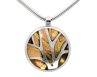 Silver and gold tree pendant - small