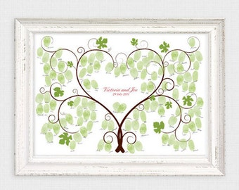 grape vine fingerprint wedding guest book - printable file - vineyard wedding sign in, winery, grapes, thumbprint tree, wedding tree, custom