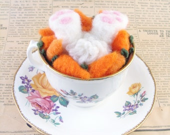 Needle Felted Teacup Rabbit Animal Carrots by McBride House
