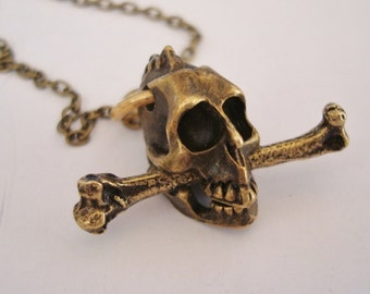 Them Bones Necklace, Skull With Leg Bone Clenched Between The Teeth, Custom Necklace, Choice of Chain Length, USA, Handmade, Original design