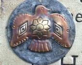 "Large 1 1/2"" Rustic Molten Soldered Navajo Bird Pendant Bohemian Charms Brass and Copper Metalwork, Metalsmith, Mixed Metals"