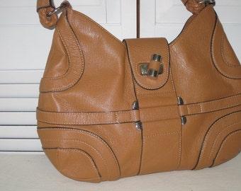 vintage Saddle Tan Leather Handbag with rope handle