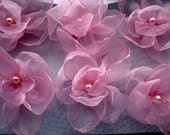 For Kathleen -- 12  pieces pink  organza sweety flowers with white pearls