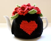I Heart You - Red and Black - Floral Tea Cosy by Tafferty Designs - size SMALL - ready to ship