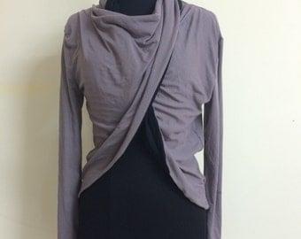 Women Top, Sweatshirt, Wrapping Cardigan, Reversible, Extra Long Sleeves, Black, Gray  , Black Friday 2015 Sale
