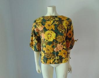 60s mod FLORAL print cotton top blouse size medium