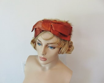 50s SATIN BOW and MINK hat fascinator