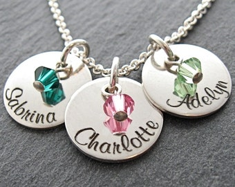 """Personalized three 9/16"""" charms with crystals mother necklace - Name necklace - Engraved necklace - Custom Jewelry - Mother Necklace"""