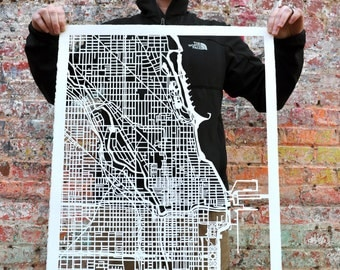 Chicago hand cut map ORIGINAL