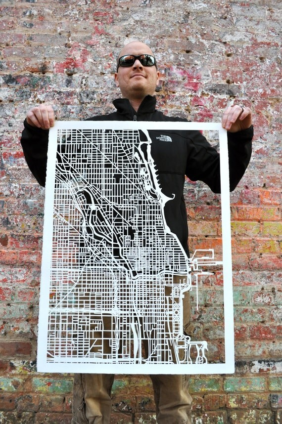 Chicago hand cut map, Ready to Ship, SALE