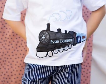 GreatStitch Vintage Train Shirt Boy BIrthday Shirt