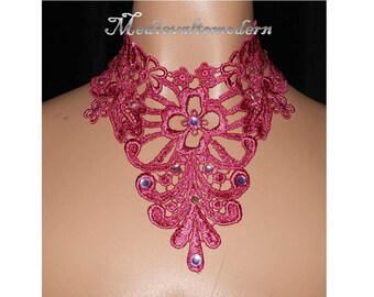 Large Collar Choker Necklace in Pale Magenta with Bright Pink Rhinestone Venise Victorian Medieval Modern Style Wearable Art