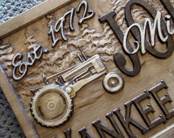 Personalized Family Name Signs CARVED Custom 3D Wood work Farmer Christmas Wedding Gift Lovejoystore Farm Ranch green tractor Sign bar sign