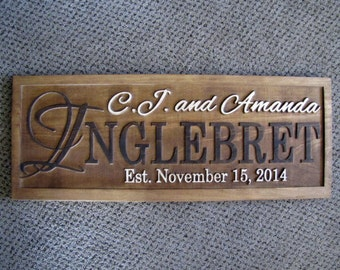 Christmas Gift, Personalized Family name signs last name sign Custom Personalized wedding gift Established family sign lovejoystore rustic
