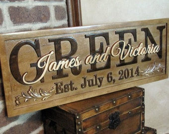 Personalized Family Name Signs unique wedding gifts for couple custom CARVED 3D Wood Sign Last name Established lovejoystore custom signs