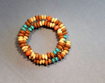 Wraparound bracelet with wood beads, turquoise and orange howlite