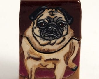 Hand Painted OOAK Golden Warmth Stoneware Box with Fawn Pug