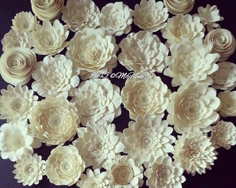 Weddings Handmade Paper Flowers 30- 1.5 inch to 2.5 inch flowers in the colors of your choice