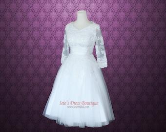 Modest Retro 50s Tea Length Lace Wedding Dress with 3/4 Sleeves  | Knee Length Wedding Dress | Vintage Wedding Dress | Jasmine