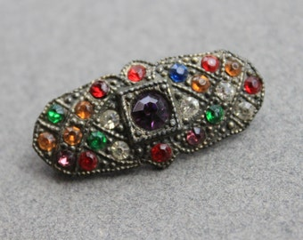 Art Deco Fruit Salad Paste Rhinestone Pin / Gatsby Flapper Jewelry