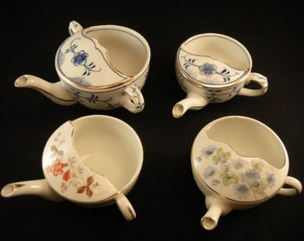 4 Infant Baby Feeders/Individual Tea 2 Blue and White Transfer ware plus Floral Porcelain Feeder, Infant Feeders,  USA ONLY