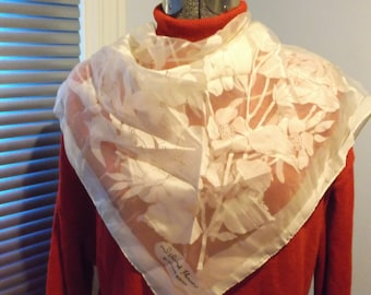 Island Flowers by Smith's Bermuda Sheer Off White Scarf