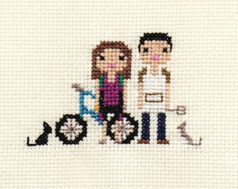 Family Custom Pixel Cross Stitch Portrait (Unframed)