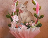 EASTER- Vintage Style nut cup - candy cup -table decor - White rabbit
