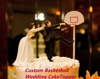 Custom Basketball Wedding cake topper-Splendorlocity Fun Sports Groom Weddings