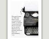 Kurt Vonnegut Quote, gift for writer, office art, writer inspiration, vintage typewriter print, graduation gift, black and white, typography