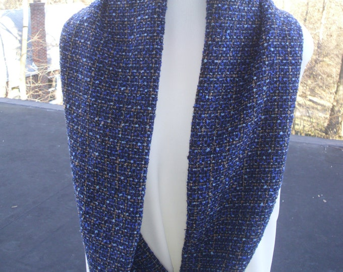 Royal Blue, Purple, Light Blue, Gold Wool Boucle Infinity Scarf