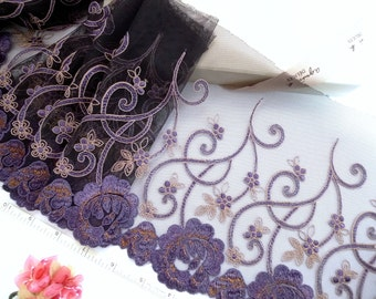 Black lace, embroidered trim, floral tulle trim, embroidered tulle, lingerie lace, 2 yards BK116