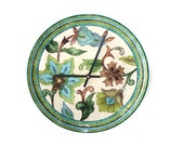 Earthenware Plate Clock in Rustic Shades of Blue, Green and Brown / Floral Kitchen Clock / Unique Wall Clock / Unique Wall Decor / 1706